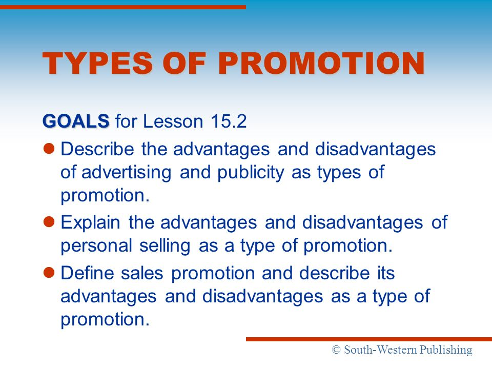 TYPES OF PROMOTION GOALS for Lesson 15.2