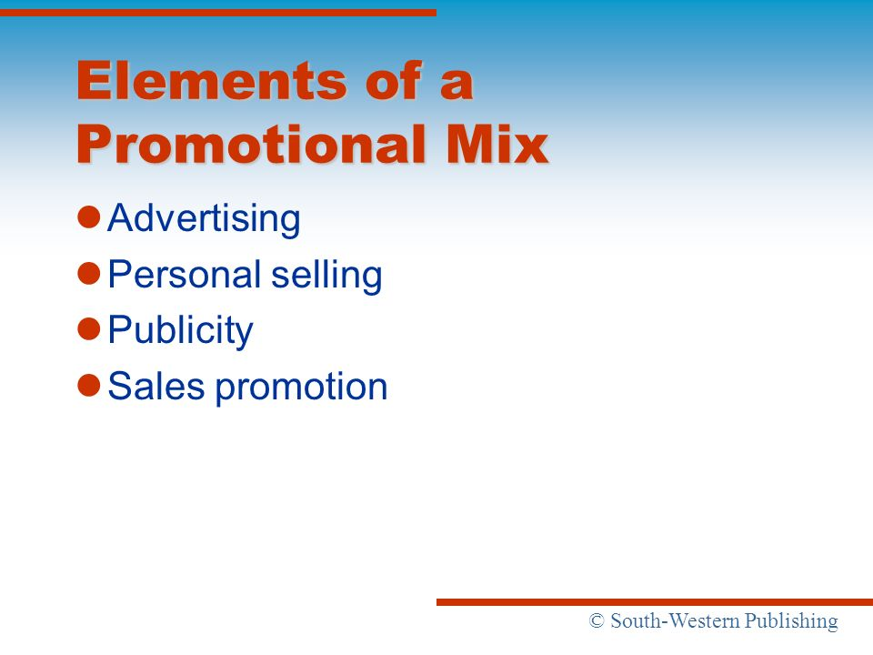 Elements of a Promotional Mix