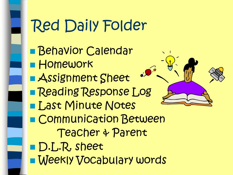 Red Daily Folder Behavior Calendar Homework Assignment Sheet