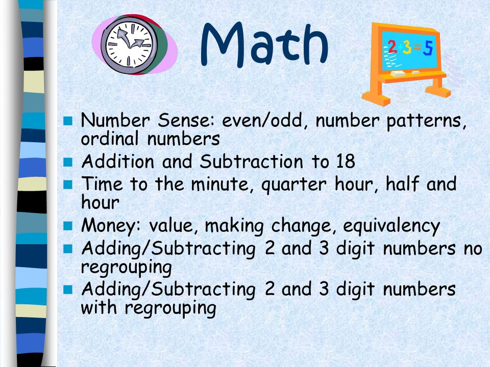 Math Number Sense: even/odd, number patterns, ordinal numbers