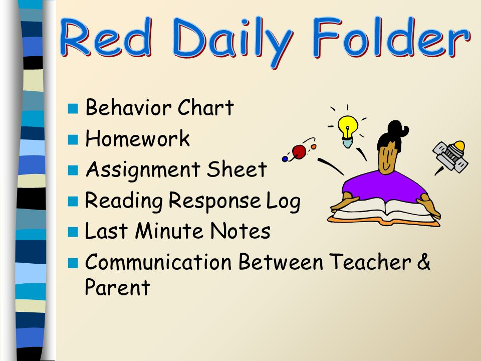 Red Daily Folder Behavior Chart Homework Assignment Sheet