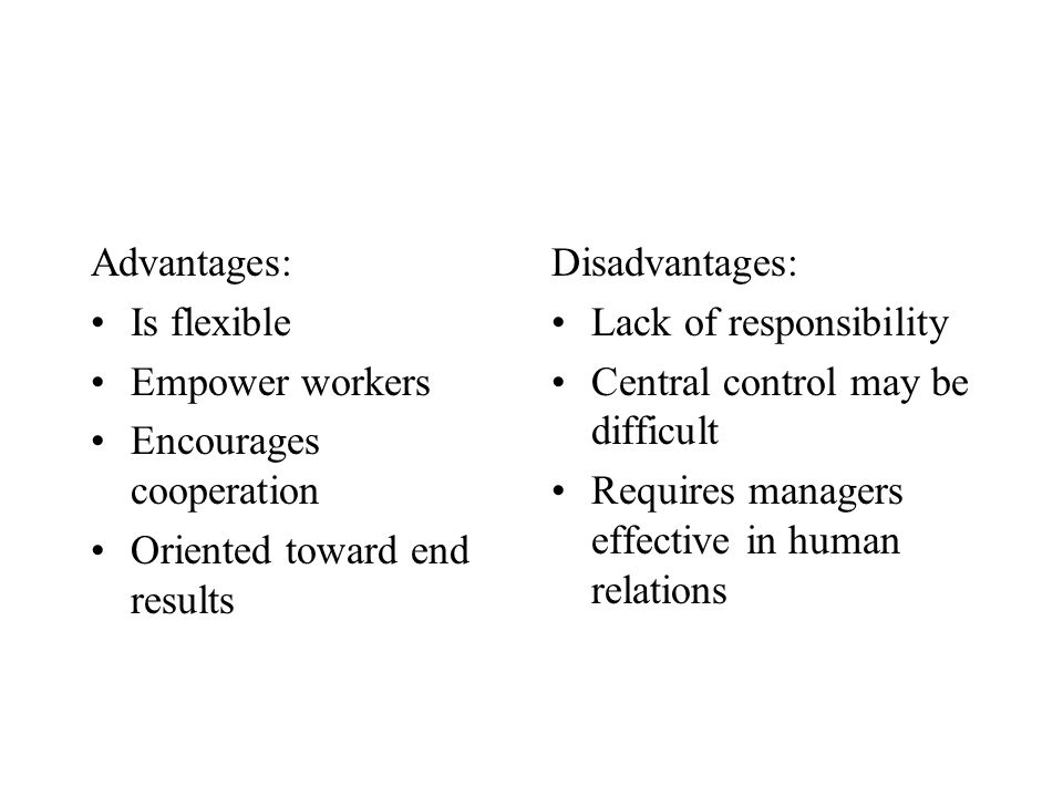 Advantages: Is flexible. Empower workers. Encourages cooperation. Oriented toward end results. Disadvantages: