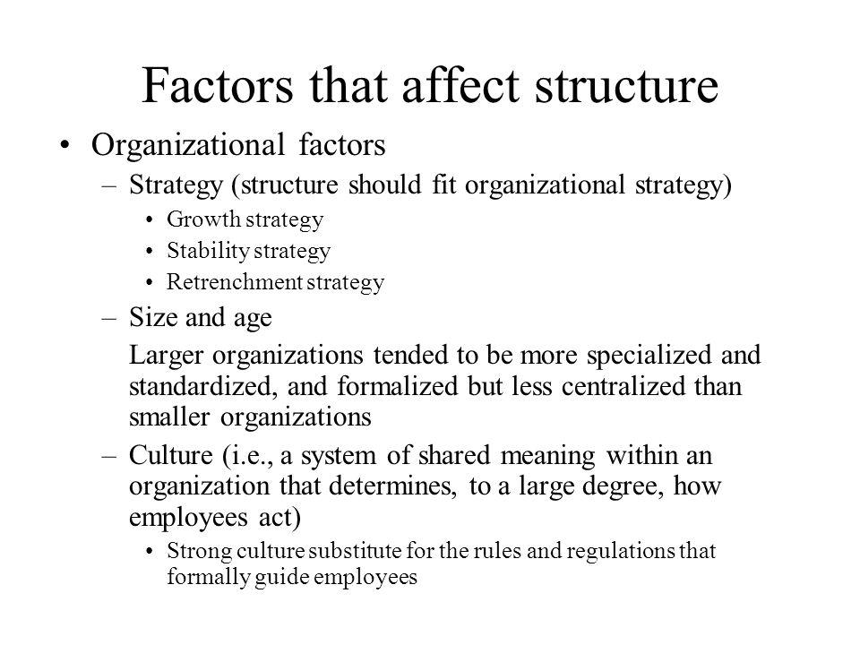 Factors that affect structure