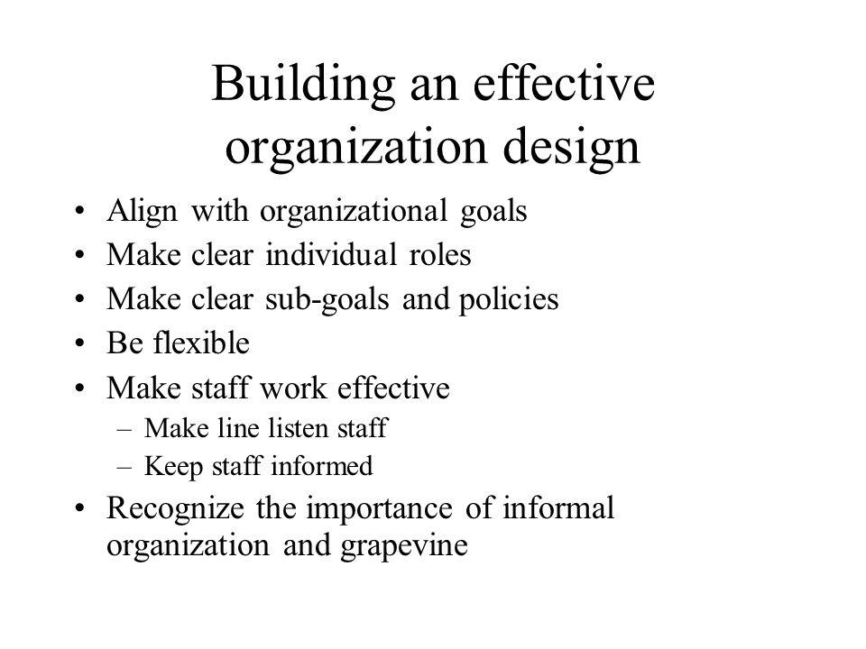 Building an effective organization design