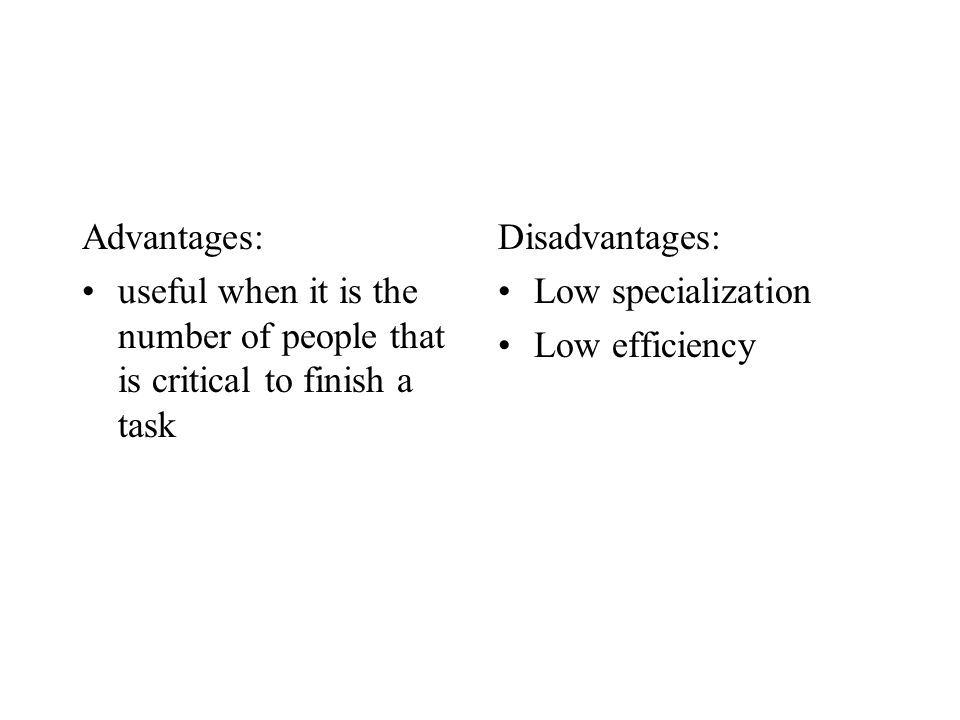 Advantages: useful when it is the number of people that is critical to finish a task. Disadvantages: