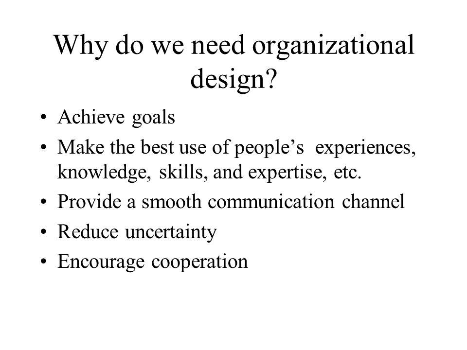 Why do we need organizational design