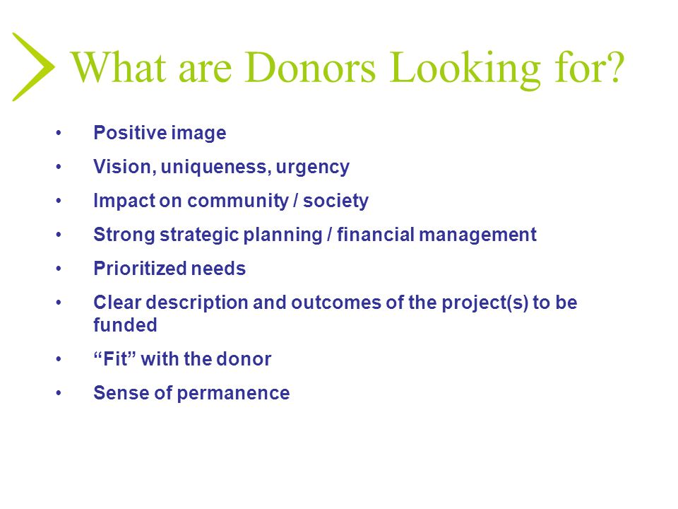 What are Donors Looking for