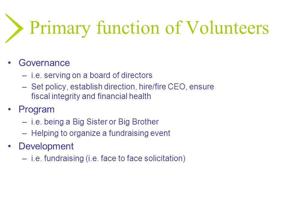 Primary function of Volunteers