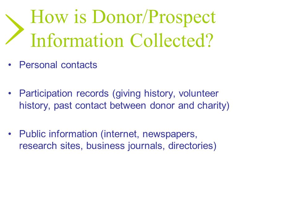 How is Donor/Prospect Information Collected