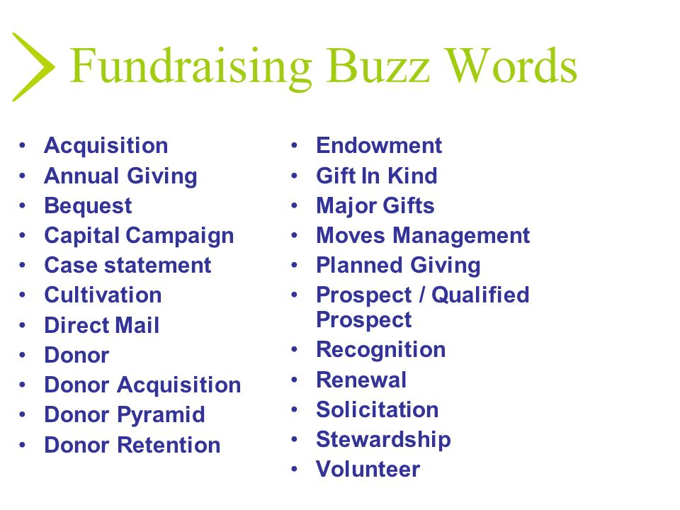 Fundraising Buzz Words