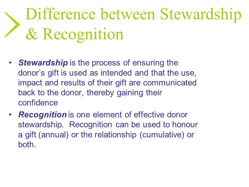 Difference between Stewardship & Recognition
