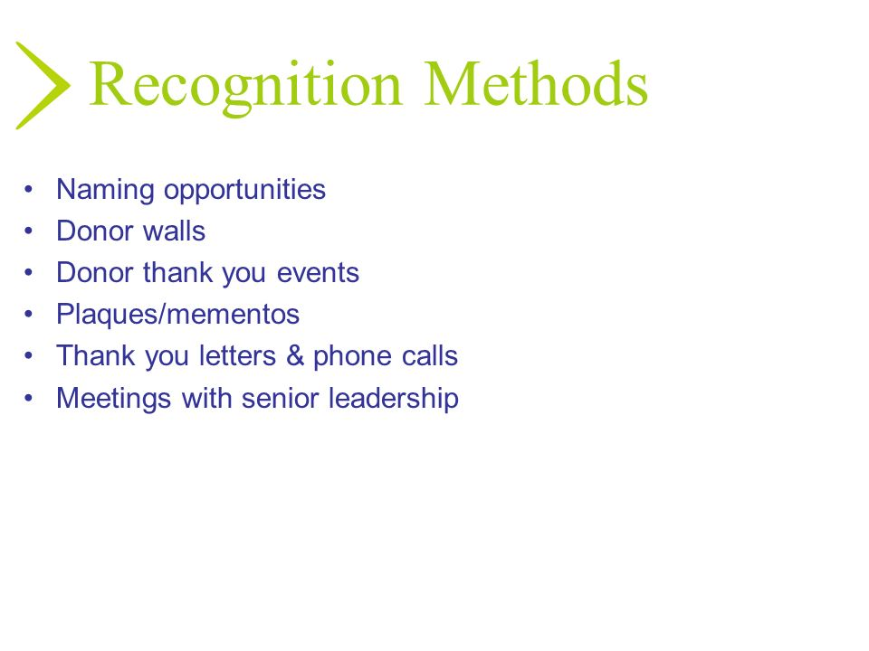Recognition Methods Naming opportunities Donor walls