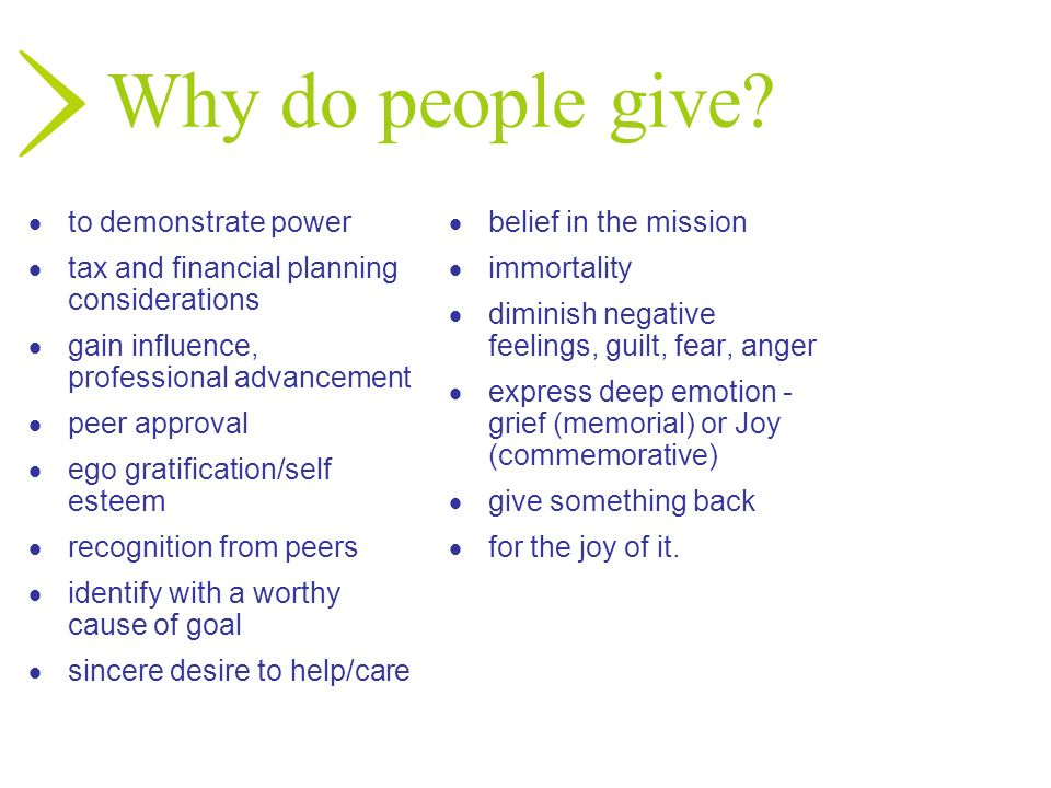 Why do people give to demonstrate power