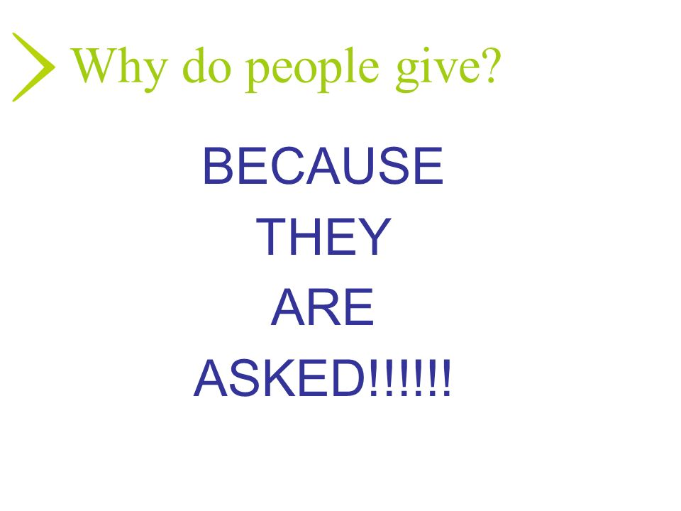 Why do people give BECAUSE THEY ARE ASKED!!!!!!