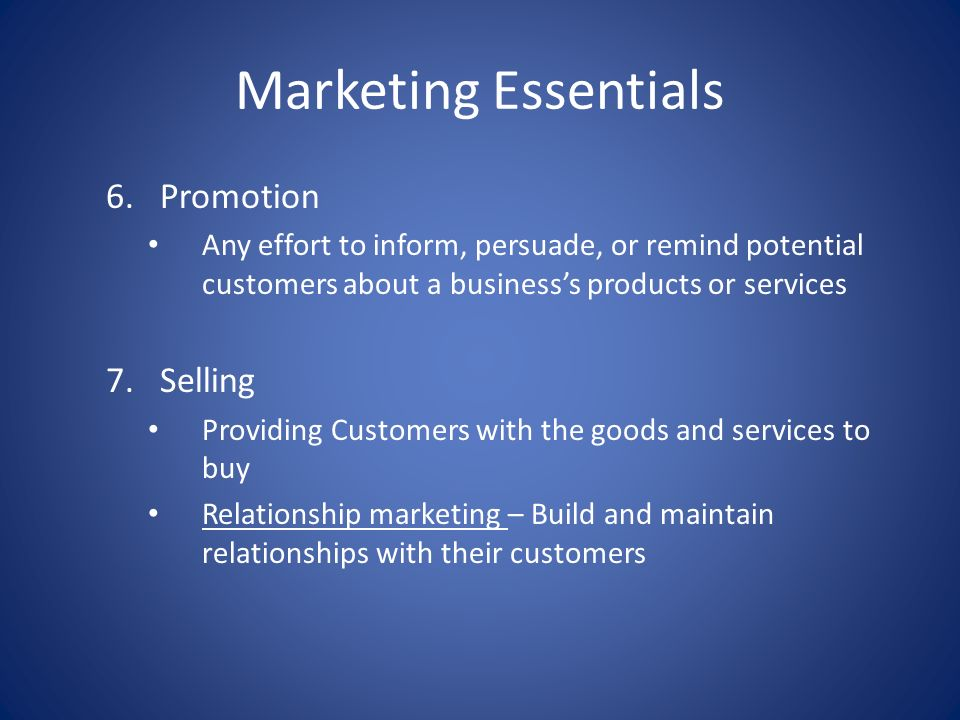 Marketing Essentials Promotion Selling