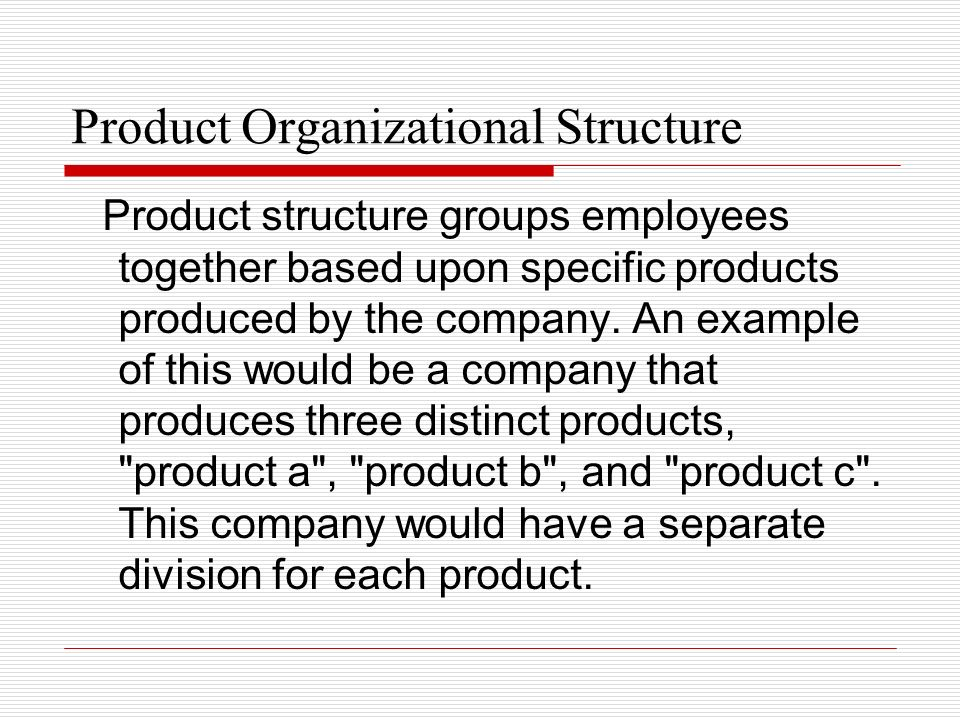 Product Organizational Structure
