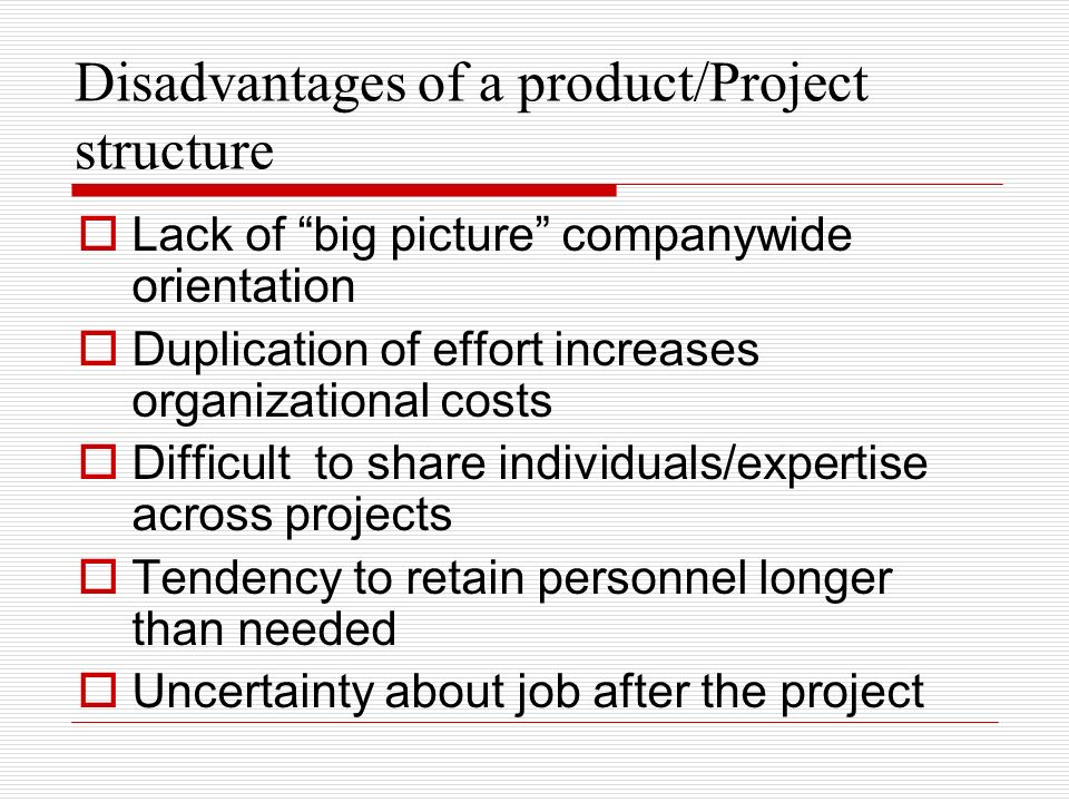 Disadvantages of a product/Project structure