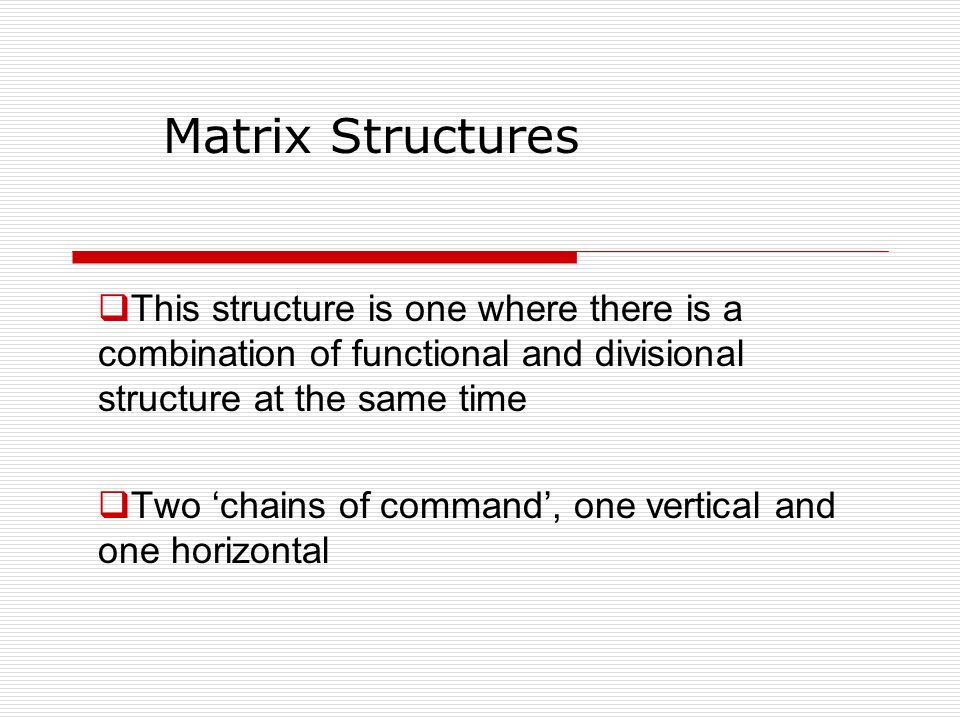 Matrix Structures This structure is one where there is a combination of functional and divisional structure at the same time.