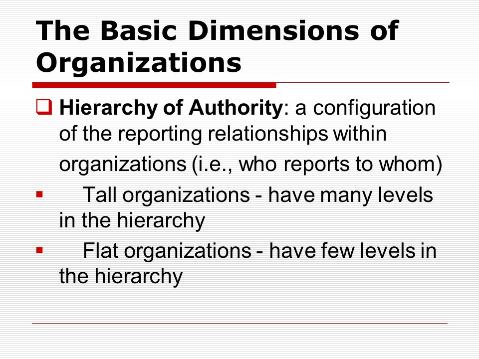 The Basic Dimensions of Organizations