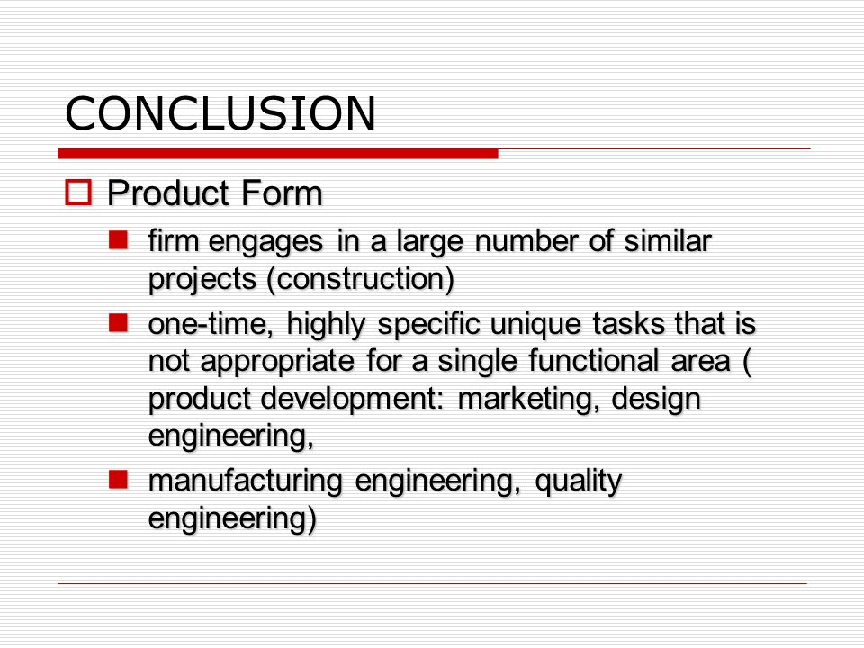 CONCLUSION Product Form