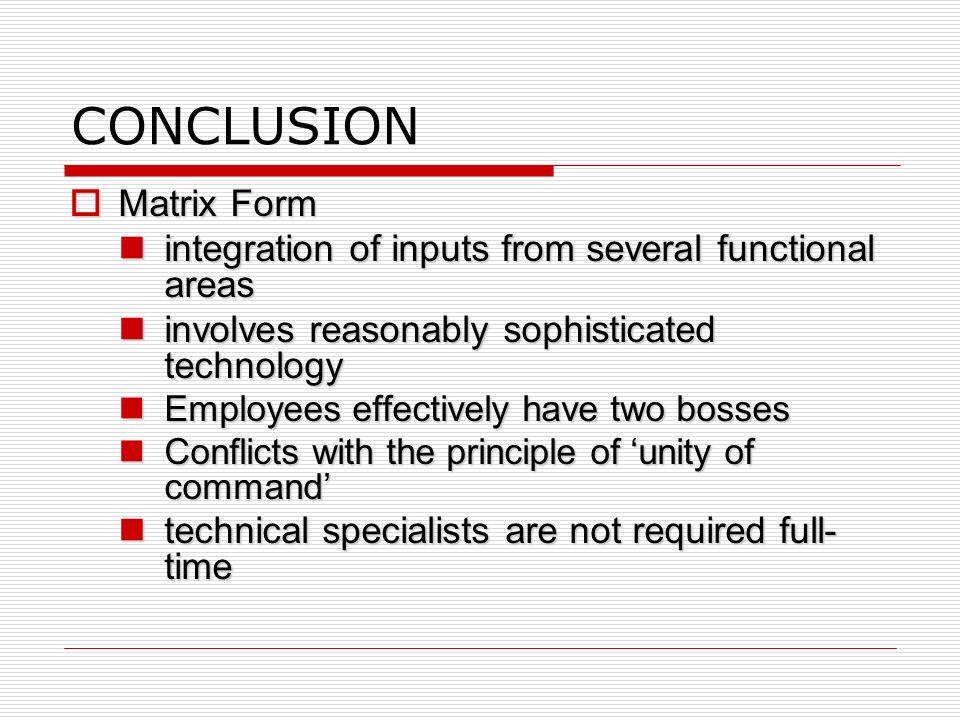 CONCLUSION Matrix Form