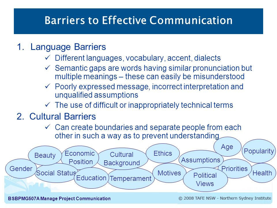 cultural barriers to effective communication 10 strategies for overcoming language barriers  riers to effective communication use the strategies below to ensure you're not put-  cross-cultural.