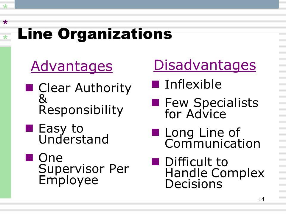 Line Organizations Advantages Disadvantages Inflexible