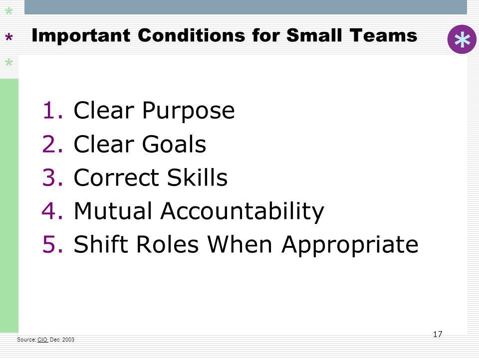 Important Conditions for Small Teams