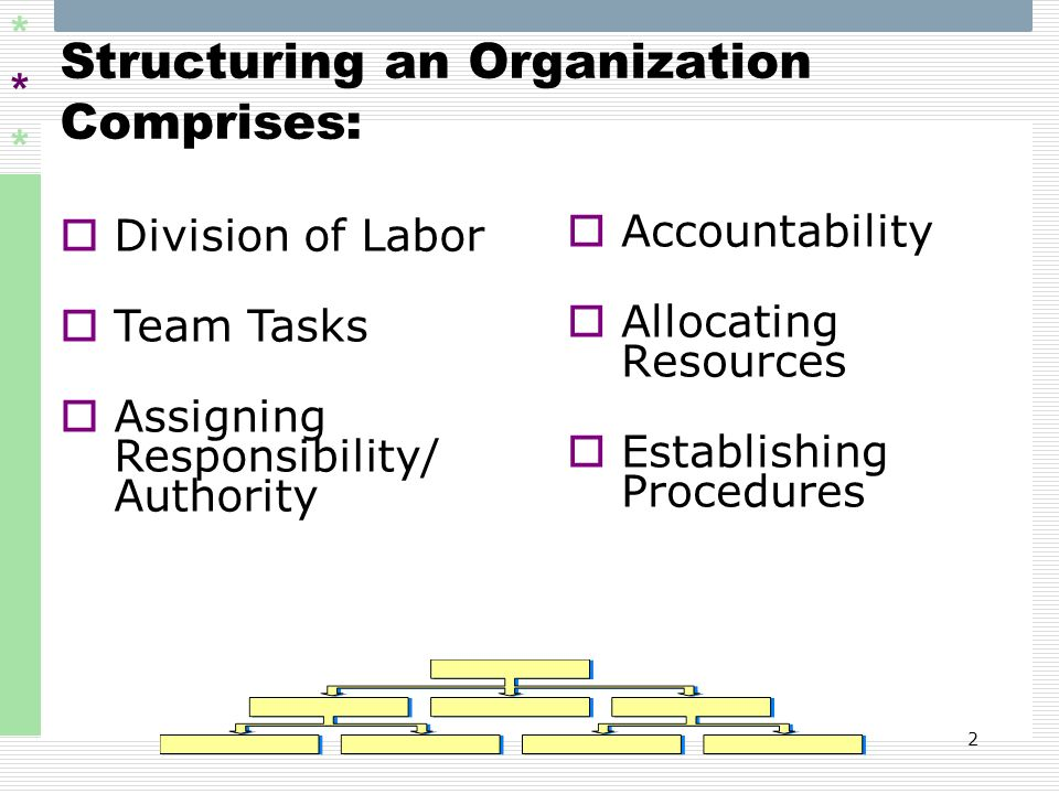 Structuring an Organization Comprises: