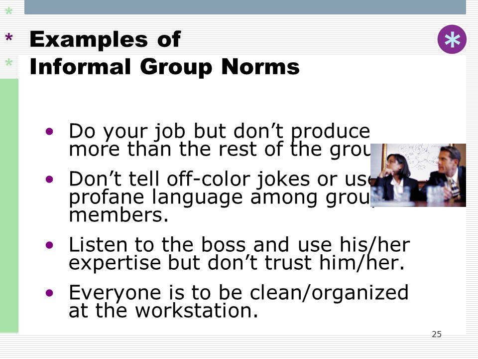 Examples of Informal Group Norms