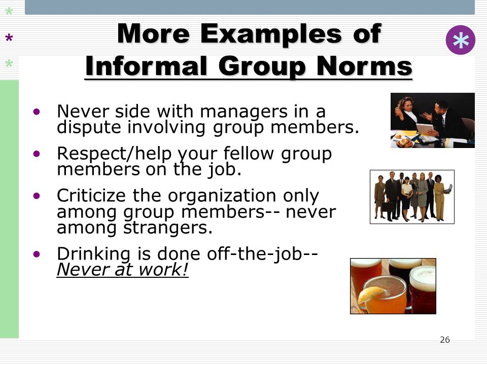 More Examples of Informal Group Norms