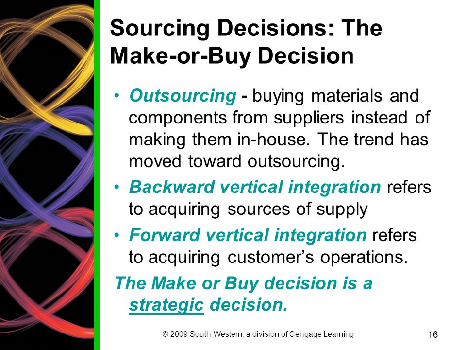 outsourcing make or buy decisions Making software applications in-house, outsourcing them, or buying them from   the build versus buy decision is really tough to make, espe.