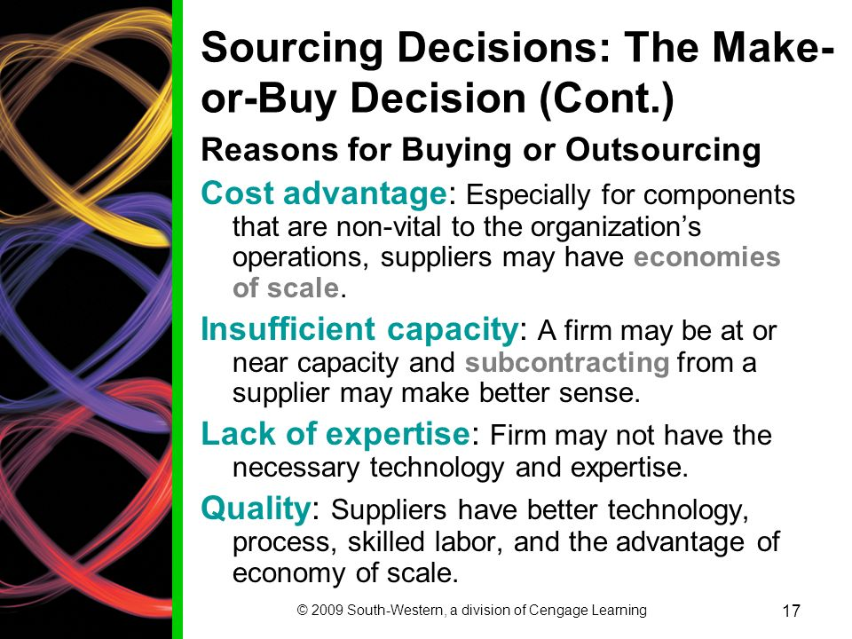 advantage of make or buy decision The make-or-buy decision refers to deciding whether a firm should buy the  product/component directly (outsourcing) or manufacture it itself there are a  number.