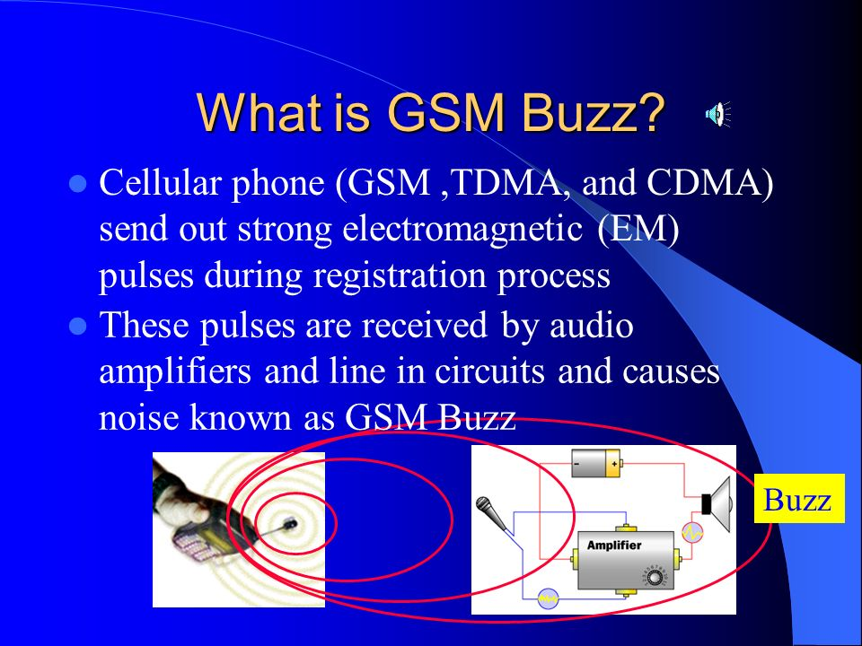 What is GSM Buzz Cellular phone (GSM ,TDMA, and CDMA) send out strong electromagnetic (EM) pulses during registration process.