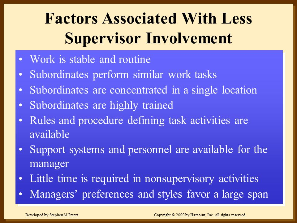 Factors Associated With Less Supervisor Involvement