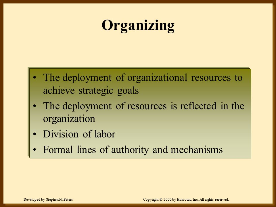 Organizing The deployment of organizational resources to achieve strategic goals. The deployment of resources is reflected in the organization.