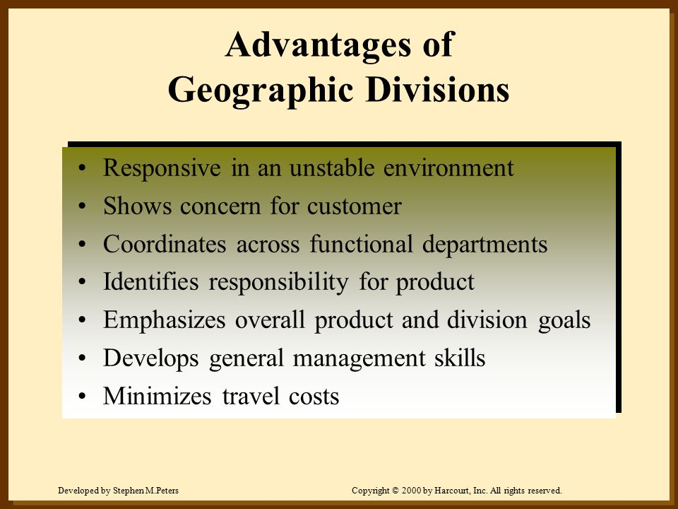 Advantages of Geographic Divisions