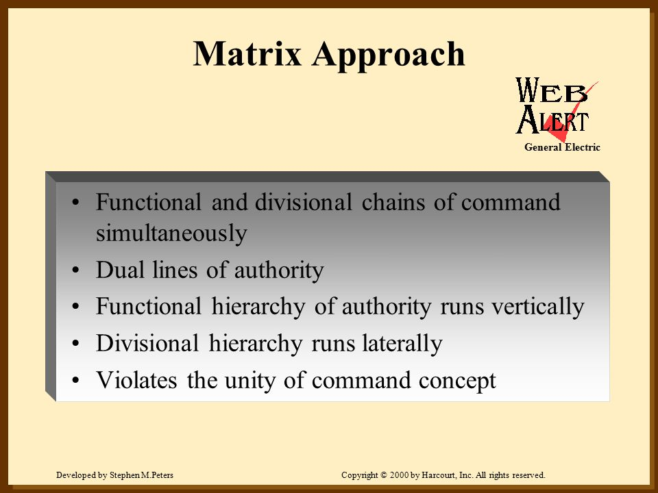 Matrix Approach General Electric. Functional and divisional chains of command simultaneously. Dual lines of authority.
