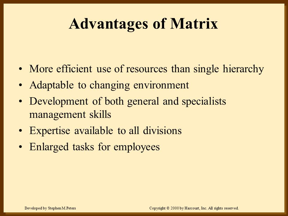 Advantages of Matrix More efficient use of resources than single hierarchy. Adaptable to changing environment.