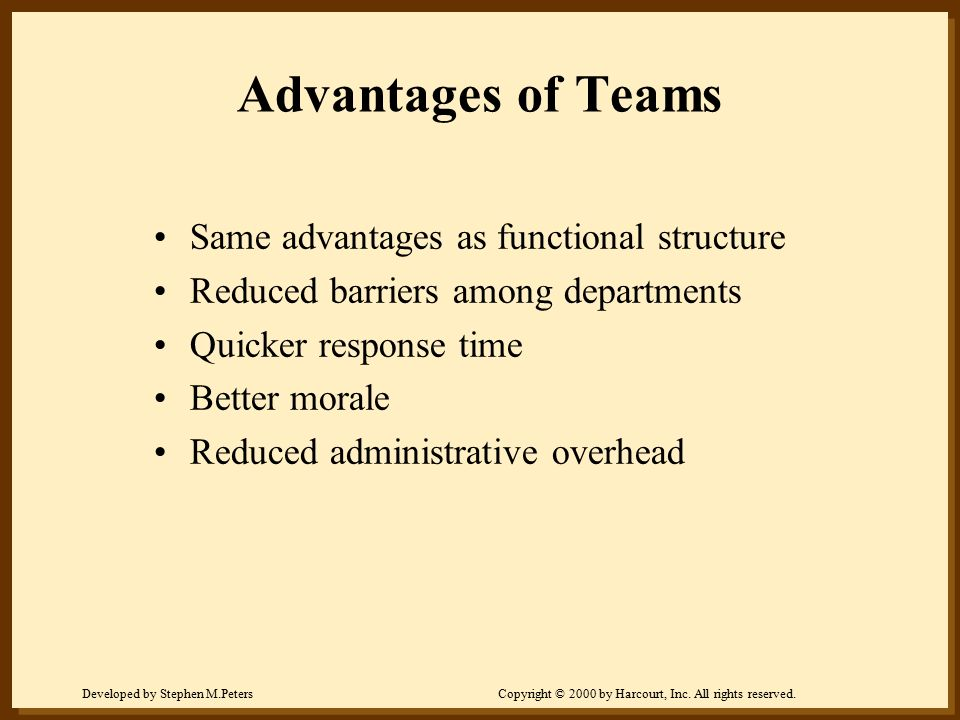 Advantages of Teams Same advantages as functional structure