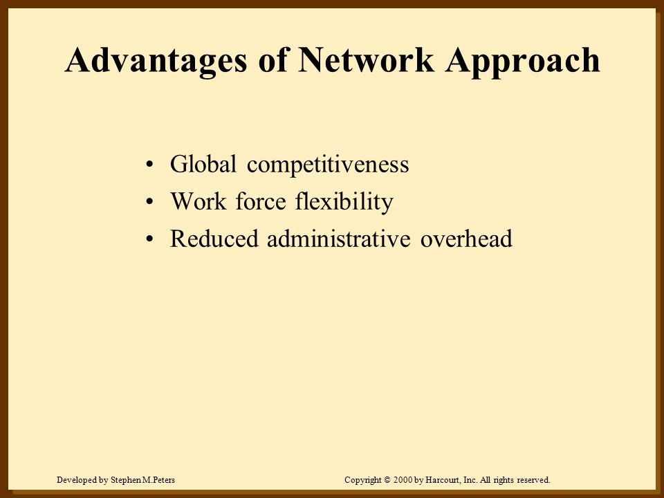 Advantages of Network Approach