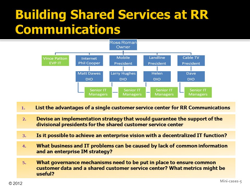 Building Shared Services at RR Communications
