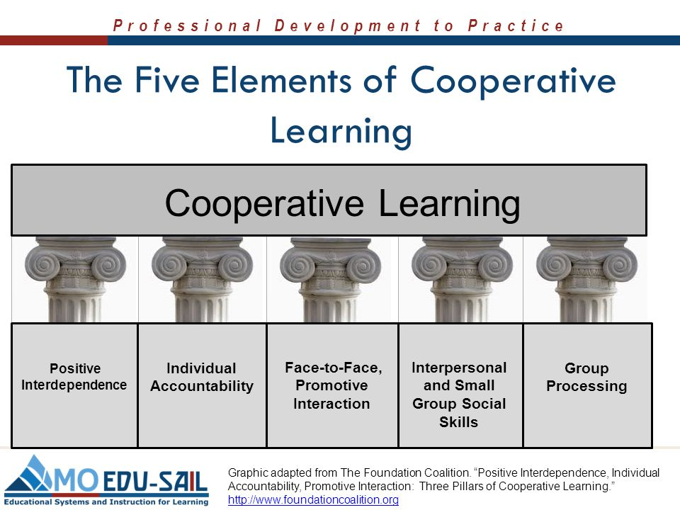 an overview of the five components of cooperative learning Introduction to cooperative learning when students attend  these five  essential components must be present for small group learning to be truly  cooperative.