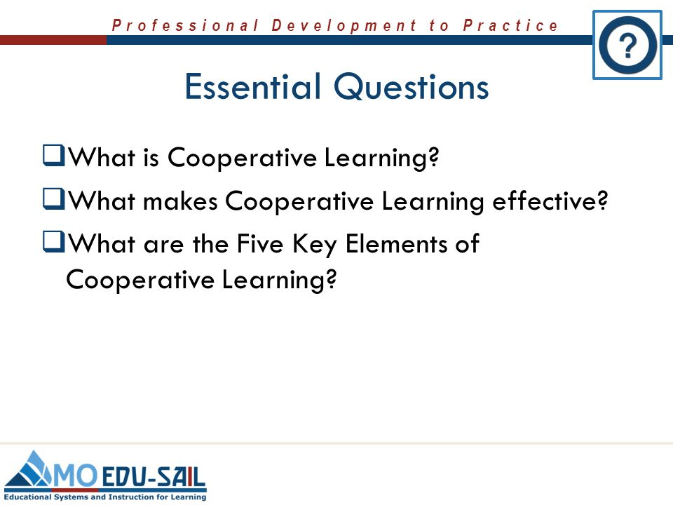 an overview of the five components of cooperative learning Johnson and johnson offered five characteristics of cooperative learning mathematical problem solving experiences sheehy found that binary tensions occurred within three general.