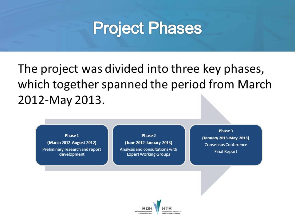 Project Phases The project was divided into three key phases, which together spanned the period from March 2012-May 2013.