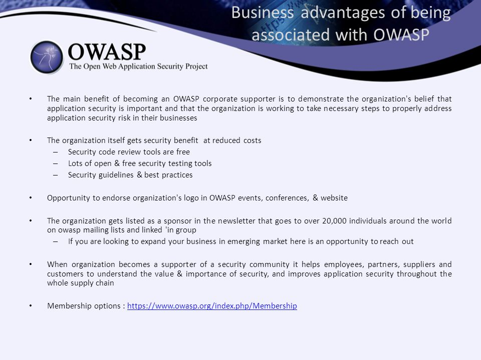 Business advantages of being associated with OWASP