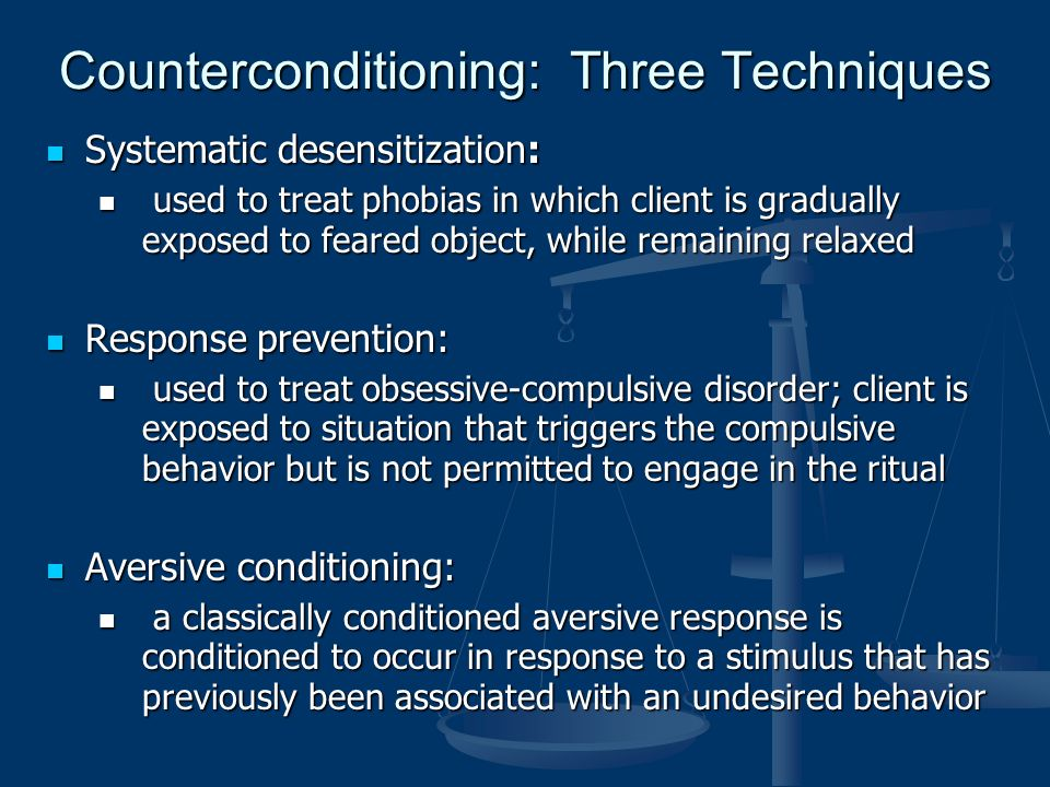 the counter conditioning and the systematic desensitization technique Canine scholars offers systematic desensitization which is a behavioral modification technique to change the emotional response of a dog towards a trigger canine scholars offers systematic desensitization which is a behavioral modification technique to flooding counter conditioning.