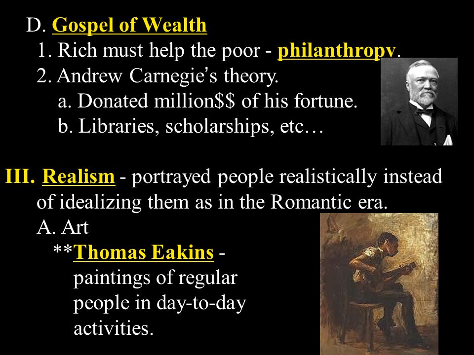 The gospel of wealth during the guilded age