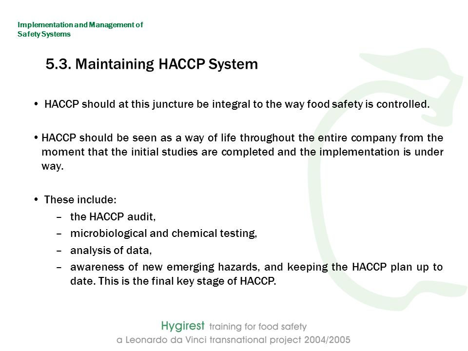 Implementation and management of safety systems ppt download - Procedure haccp cuisine ...