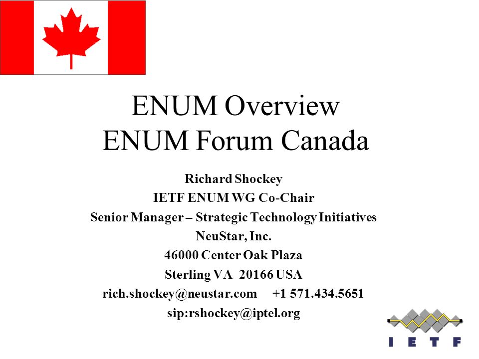 ENUM Overview ENUM Forum Canada